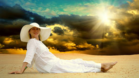 Women Relaxation At Sunny Desert Stock Photography