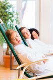 Women in relaxation room of wellness spa Stock Photography