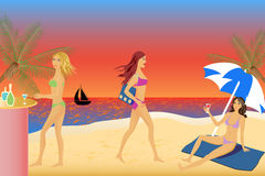 Women relaxing at the beach. Women relaxing and having fun at the beach Stock Images