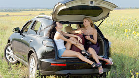 Women relaxing in boot of car Stock Photo