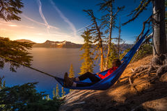 Women Relaxing in Hammock Crater Lake Oregon. Woman Hiker Relaxing in Hammock Crater Lake National Park Oregon Royalty Free Stock Photography