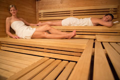 Women relaxing in sauna Stock Photo