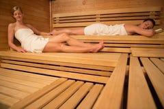 Women relaxing in sauna Stock Photo