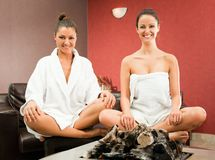 Women relaxing spa Stock Image