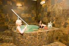 Women Relaxing in Spa royalty free stock photography
