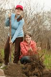 Women resetting  bush sprouts Stock Images