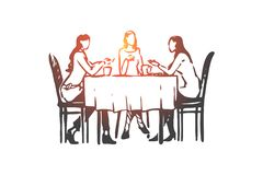 Women, restaurant, table, dishes, conversation concept. Hand drawn isolated vector. stock illustration