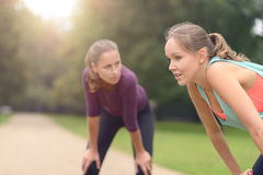 Women Resting After their Outdoor Exercise Royalty Free Stock Photos