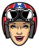 Women rider wearing motorcycle helmet Stock Images