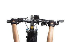 Women riding on a bicycle handlebar Stock Image