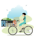 Women riding a bicycle. Stock Photo
