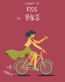 Women riding on the bicycle. Young women riding on the bicycle. Flat design Stock Photos