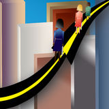 Women Road to Success. Illustration showing three (3) women climbing the road (arrow) to success in an urban environment Royalty Free Stock Image