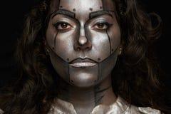 Women robot face stock photos