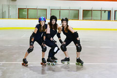 Women roller derby players. In an arena stock photography