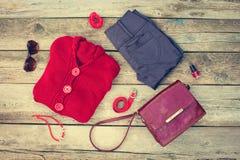Women& x27; ropa y accesorios del otoño de s Fotos de archivo