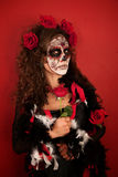 Women With Roses for Dia De Los Muertos Royalty Free Stock Photography