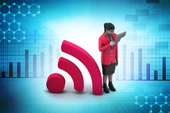 Women with rss sign, communication concept Stock Photography