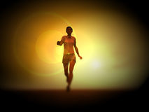 Women Runner 207. An image of a bare footed women running, with the sunset in the background Royalty Free Stock Photo