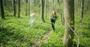 Women running in forest. Stock Image