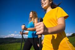 Women running, jumping outdoor Stock Photos