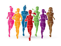Women Running Marathon Runners Group Of People Graphic Vector Stock Photography