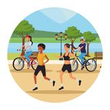 Women running in the park. And cyclist round icon vector illustration graphic design stock illustration