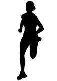 Women running on white eight Stock Photo