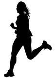 Women running on white four Royalty Free Stock Photo