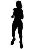 Women running on white nine Royalty Free Stock Images