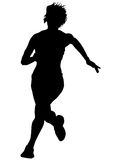 Women running on white one Royalty Free Stock Images