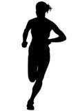 Women running on white ten Stock Photography