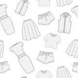 Women& x27 s που ντύνει το άνευ ραφής σκίτσο σχεδίων Ενδύματα, χέρι-σχέδιο, doodle ύφος Ιματισμός, υπόβαθρο Women& x27 ενδύματα V απεικόνιση αποθεμάτων