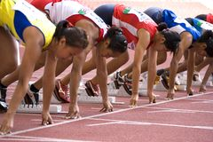 Women's 100 Meters Race Stock Photography