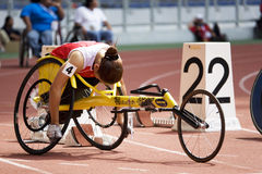 Women's 100 Meters Wheelchair Race Royalty Free Stock Images
