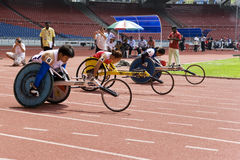 Women's 100 Meters Wheelchair Race Stock Photo