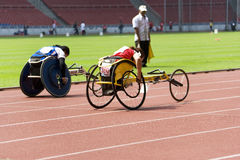 Women's 100 Meters Wheelchair Race Royalty Free Stock Photography