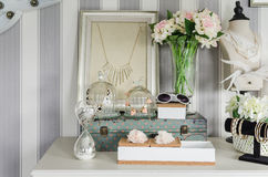 Women's accesories on white dressing table Stock Photography
