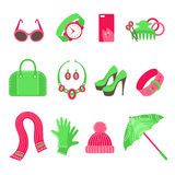 Women's accessories icons set. On white background.  Flat vector illustration Stock Image