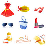 Women's accessories icons Royalty Free Stock Photos