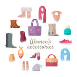 Women s Accessories Isolated on White. Vector Set Stock Image