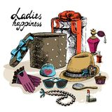 Women's accessories from open gift box Royalty Free Stock Images