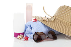 Women's accessories for outdoor relaxation. Stock Photo