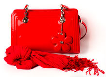 Women's Accessories: red  bag and scarf Stock Photos