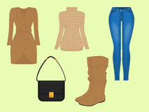 Women's accessories. A set of women's clothing for the cold season Stock Images