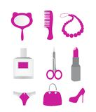 Women's Accessories. Set in pink color Stock Photo