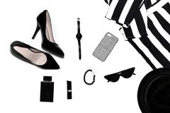 Women`s accessories on top, stylish, fashion women`s things royalty free stock photos