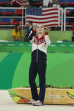 Women`s all-around gymnastics bronze medalist at Rio 2016 Olympic Games Aliya Mustafina of Russia during medal ceremony Royalty Free Stock Photography