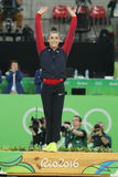 Women`s all-around gymnastics silver, medalist at Rio 2016 Olympic Games Aly Raisman of Team USA during medal ceremony Royalty Free Stock Photo