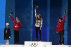 Women's alpine skiing slalom medal ceremony Stock Photo